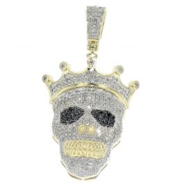 4ff98c467ff2c 10K Gold Skull Pendant Diamond 1.22ctw Iced Out With Crown and Black  Diamond Eyes