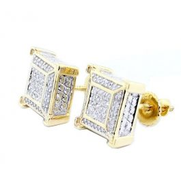 6d5cc87071896 Mens Cube Earrings 10K Yellow Gold 9mm Wide 0.2ct Diamonds Screw Back Pave  Set