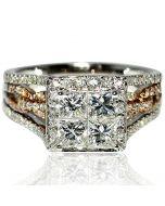 Princess Cut Rose Gold White Gold Wedding Ring 1.5ct 14K Designer 3 in 1 style