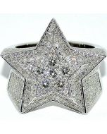 DIAMOND RING MENS STAR CUSTOM MADE 3.5CT 10K WHITE GOLD CLEAR SI DIAMONDS PINKY