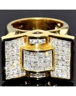 3ct Diamond Men's Ring Princess Cut Pinky Comfort fit Fanxy XL 14K Gold 17mm