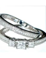 Princess Cut Wedding Rings Set 2pc Ornate 0.5ct 14K White Gold Certified EGL New