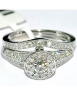 DIAMOND WEDDING SET 2 PC ENGAGEMENT RING + BAND 1CT VINTAGE HALO WHITE GOLD 14K