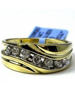 Mens Wedding Band Ring Wide 9mm 0.66ct W Real Diamonds 10k Gold Size 8, 9, 10, 11, 12, 13, 14