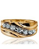 Mens Wedding Band Ring Wide 9mm 0.66ct W Real Diamonds 10k Gold Size 10