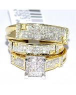 Yellow Gold Trio Wedding Set Mens Women Rings Real 0.5ct Diamonds Princess Pave
