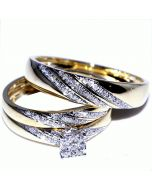 His and Her Trio Wedding Rings Set 0.33ct w 10K Yellow Gold Mens ring 5mm ladies 7mm