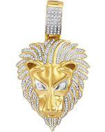 10kt Yellow Gold Mens Diamond Lion Head Animal Charm Pendant 7/8 Cttw