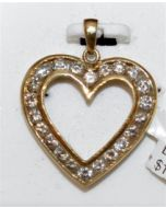 Diamond Heart 1.00ct 14K Yellow Gold pendant Round diam