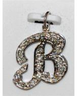 Diamond Initial charm White Gold Custom make Initial B pendant 14K 0.25ct