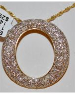 Diamond Eternity Circle of life Pendant Charm 1.75ct Real diamonds & 14K Gold
