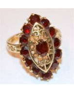 GARNET RING WOMENS JANUARY BIRTH STONE 10K GOLD 1.5CT TOTAL DARK RUBY COLOR