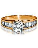14K Gold Engagement Ring 1ct Diamond Simulations Round Cut Solitaire & Accents
