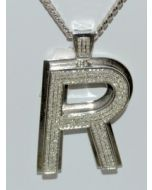 DIAMOND INITIAL R CHARM PENDANT MENS 2CT 10K WHITE GOLD BIG ROUND PAVE CUSTOM
