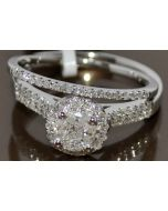 DIAMOND BRIDAL WEDDING SET 14K WHITE GOLD .5CT TWO PIECE ENGAGEMENT RING + BAND