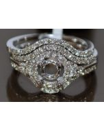 DIAMOND SEMI MOUNT WEDDING SET ENGAGEMENT RING + BAND WHITE GOLD FOR UPTO 1.25CT