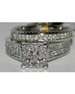 DIAMOND ENGAGEMENT RING 1CT DIAMONDS WHITE GOLD PRINCESS CUT TOP MATCHING BAND
