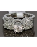 DIAMOND WEDDING SET BRIDAL ROUND TOP WHITE GOLD .64CT 2PC ENGAGEMENT RING + BAND