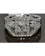 PRINCESS CUT DIAMOND RING WEDDING SET 1.4CT WHITE GOLD 3 IN 1 HALO SOLITAIRE