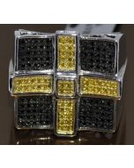 MENS DIAMOND RING WHITE GOLD FINISH 0.4CT YELLOW & BLACK DIAMOND RING CROSS 925
