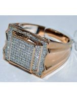 MENS DIAMOND RING ROSE GOLD 0.58CT REAL DIAMONDS WEDDING PINKY RING 10K COMFORT
