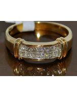 DIAMOND WEDDING RING MENS 14K GOLD PRINCESS CUT 0.55CT DIAMONDS 7MM COMFORT FIT