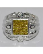 YELLOW DIAMOND RING WITH WHITE DIAMOND MENS 14K WHITE GOLD PRINCESS CUT PINKY XL