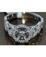 SEMI MOUNT .85CT DIAMOND CUSTOM 14K WHITE GOLD FIT UPTO 2CT 7MM PRINCESS ROUND