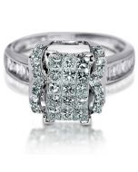 1ct Ring Engagement Wedding 14K White Gold Princess cut with Round Accents