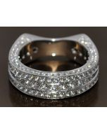 3CT DIAMOND WEDDING RING BAND EUROPEAN SHANK 14K WHITE GOLD DESIGNER VINTAGE