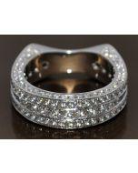 3CT DIAMOND WEDDING RING BAND EUROPEAN SHANK 14K WHITE GOLD DESIGNER VINTAGE