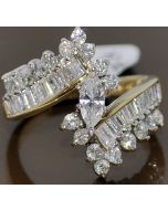 1.59CT WEDDING RING 14K GOLD LARGE MARQUISE DIAMOND CENTER & SIDE ACCENTS WIDE