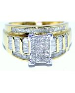 1CTW DIAMOND PRINCESS CUT WEDDING RING YELLOW GOLD 10K WIDE 3 IN 1 BRIDAL RING
