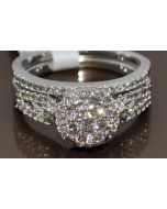 0.79ct Wedding Set Bridal Engagement Ring + band 14k White Gold Round top Halo