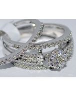 0.75ct Wedding Set Bridal Engagement Ring + band 14k White Gold Round top 3 in 1