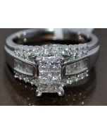 1CT DIAMOND WEDDING RING 10K WHITE GOLD 3 IN 1 STYLE PRINCESS CUT TOP COMFORT FT