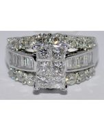 3CT DIAMOND WEDDING RING 14K WHITE GOLD 3 IN 1 STYLE PRINCESS CUT TOP COMFORT FT