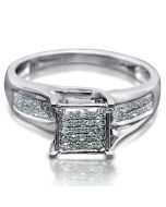 DIAMOND ENGAGEMENT RING PROMISE RING 10K WHITE GOLD 0.16CT SQUARE PRINCESS TOP