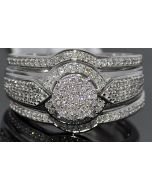 0.50ct WEDDING SET THREE PIECE ENGAGEMENT RING + 2 MATCHING BANDS WHITE GOLD 10K
