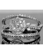 WEDDING SET 1CT BRIDAL ENGAGEMENT RING + 2 BAND ROUND TOP 14K WHITE GOLD 3PC SET