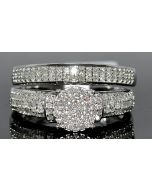 0.5CT WEDDING SET 2PC ENGAGEMENT RING & WBAND 10K WHITE GOLD ROUND TOP PAVE SET