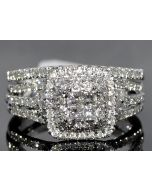 1CT WEDDING SET BRIDAL 2PC ENGAGEMENT RING + BAND PRINCESS CUT 14K WHITE GOLD