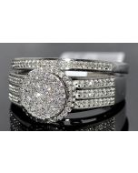.4CT BRIDAL SET ENGAGEMENT RING + WEDDING BANDS 14K WHITE GOLD ROUND TOP