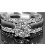 0.55CTW DIAMOND WEDDING SET 3PC ENGAGEMENT RING 14K WHITE GOLD AND 2 MATCHING BANDS