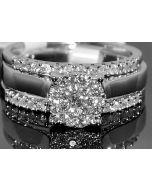 0.55CTW DIAMOND WEDDING SET 3PC ENGAGEMENT RING 14K WHITE GOLD AND 2 MATCHING BANDS