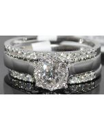 0.80CTW DIAMOND WEDDING SET 3PC SOLITAIRE ENGAGEMENT RING 14K WHITE GOLD