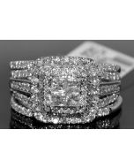 1.56CT WEDDING SET BRIDAL ENGAGEMENT RING + 2 BANDS 14K WHITE GOLD PRINCESS 3PC