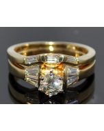 1ct Wedding Set Engagement Ring & Band 0.5ct Round Solitaire Center 14K Gold