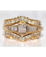 1CT Diamond Wedding Set Engagement Ring + Jacket Enhancer 14K Gold Princess Cut