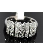 1.1ct Diamond Wedding Band Ring 14K White Gold Princess and Round diamonds 9mm